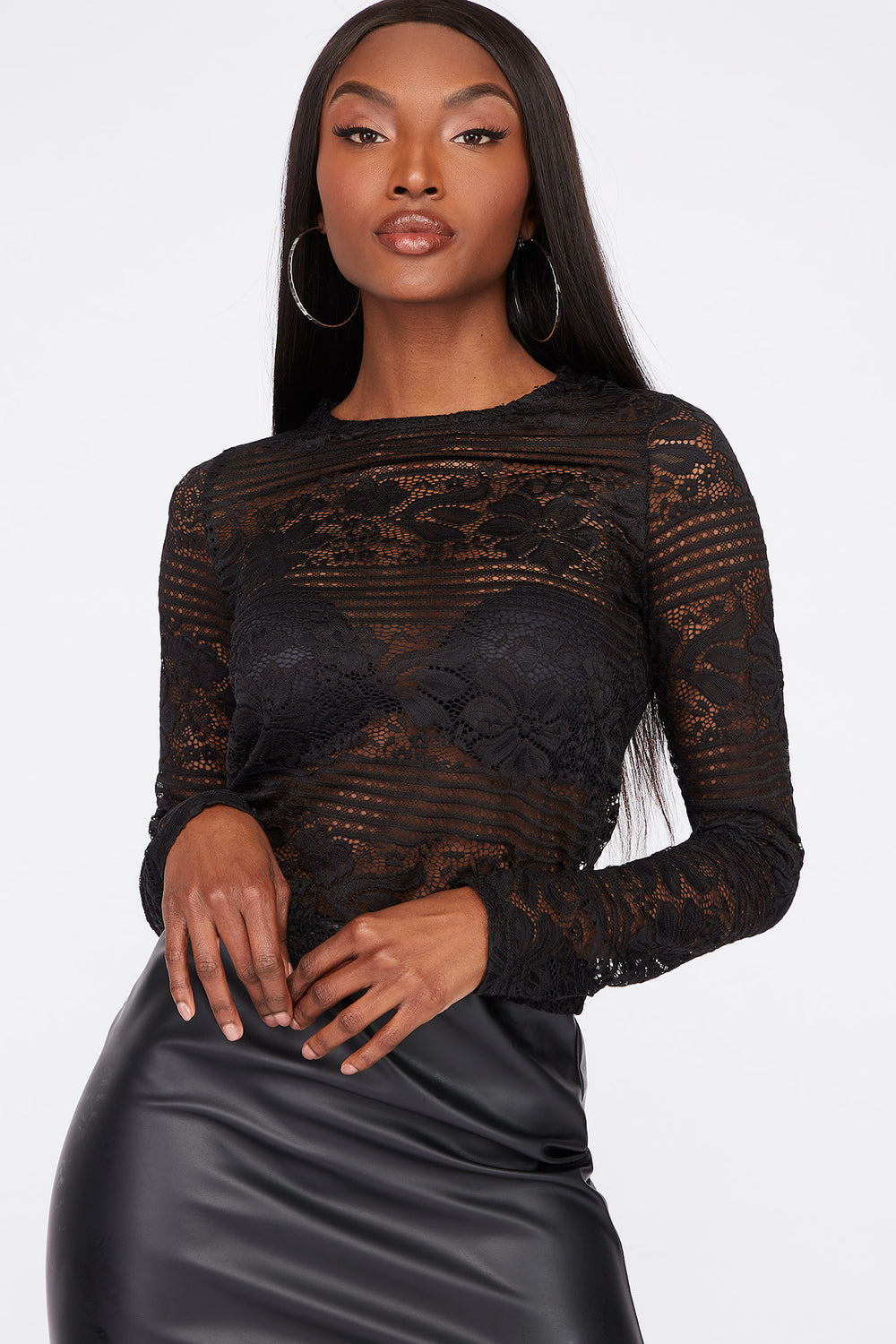 Striped Lace Cropped Long Sleeve Black