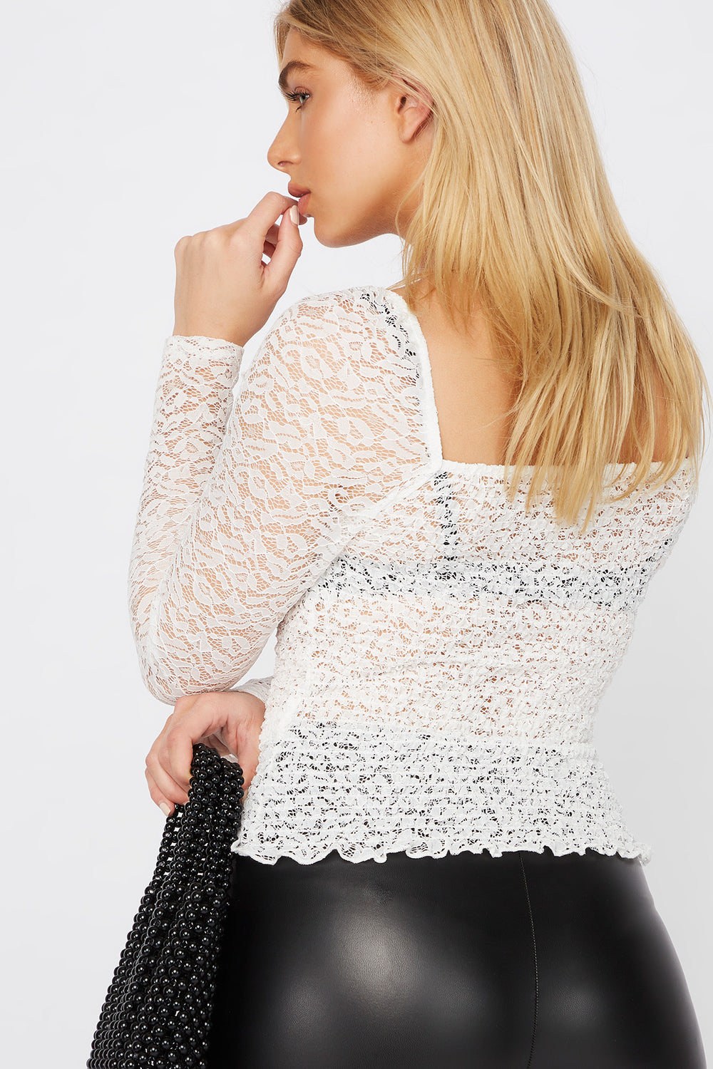 Lace Smocked Long Sleeve Blouse White
