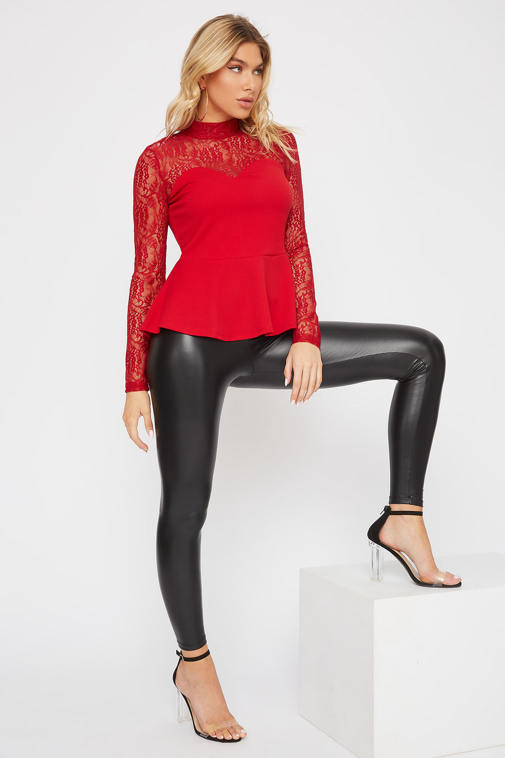 Lace Mock Neck Peplum Blouse Red