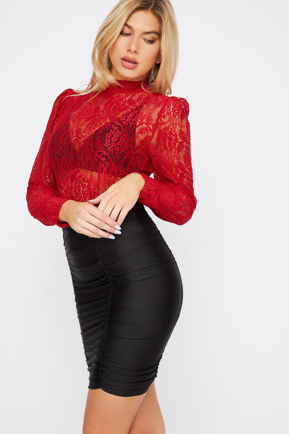 Lace Puff Sleeve Blouse Red