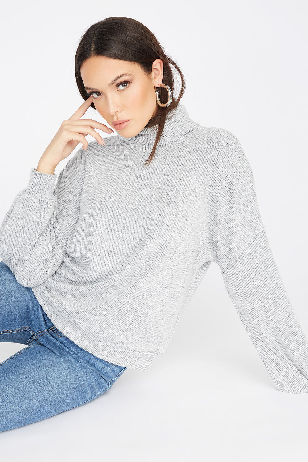 Knit Turtleneck Long Dolman Sleeve Top Light Grey