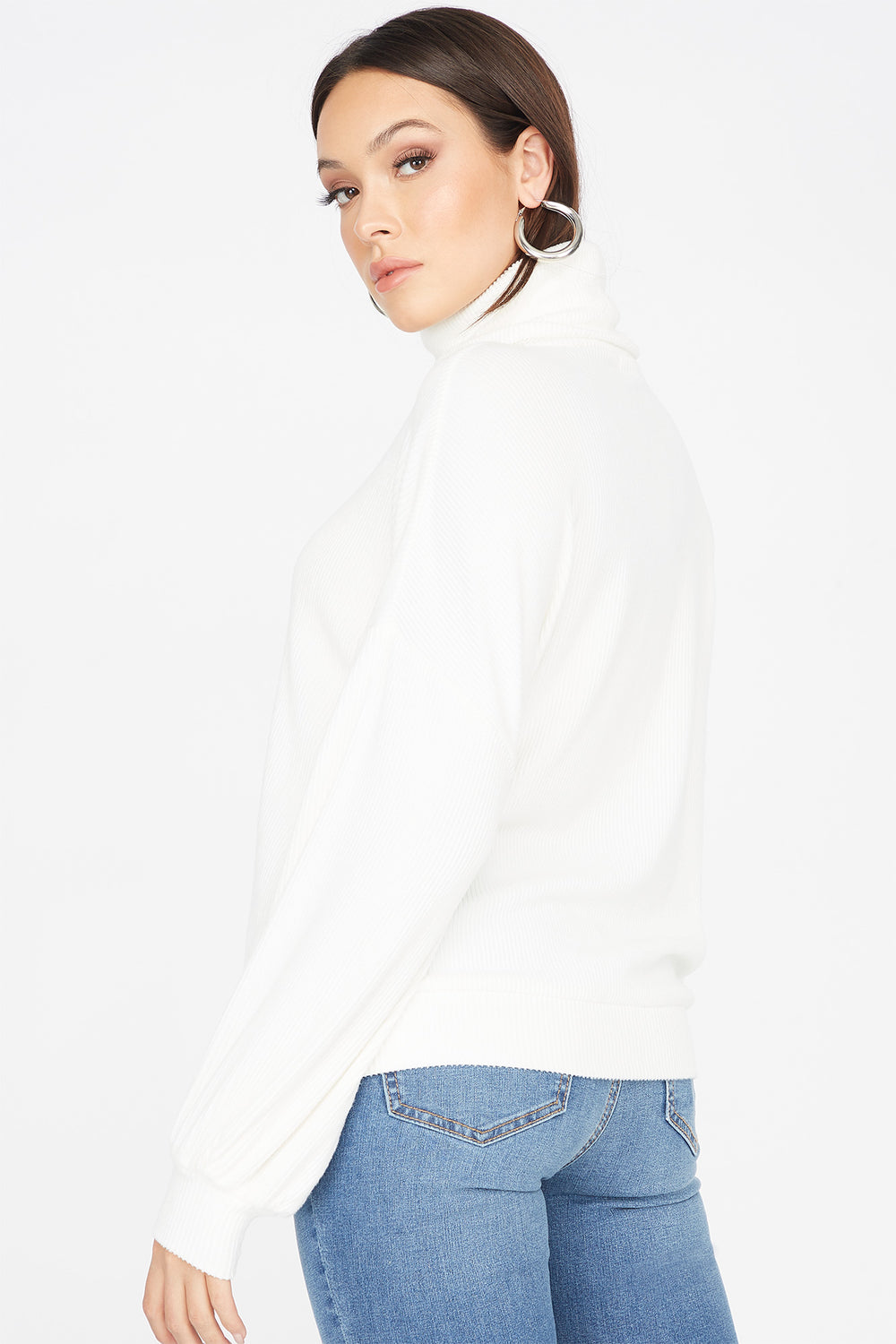 Knit Turtleneck Long Dolman Sleeve Top Cream