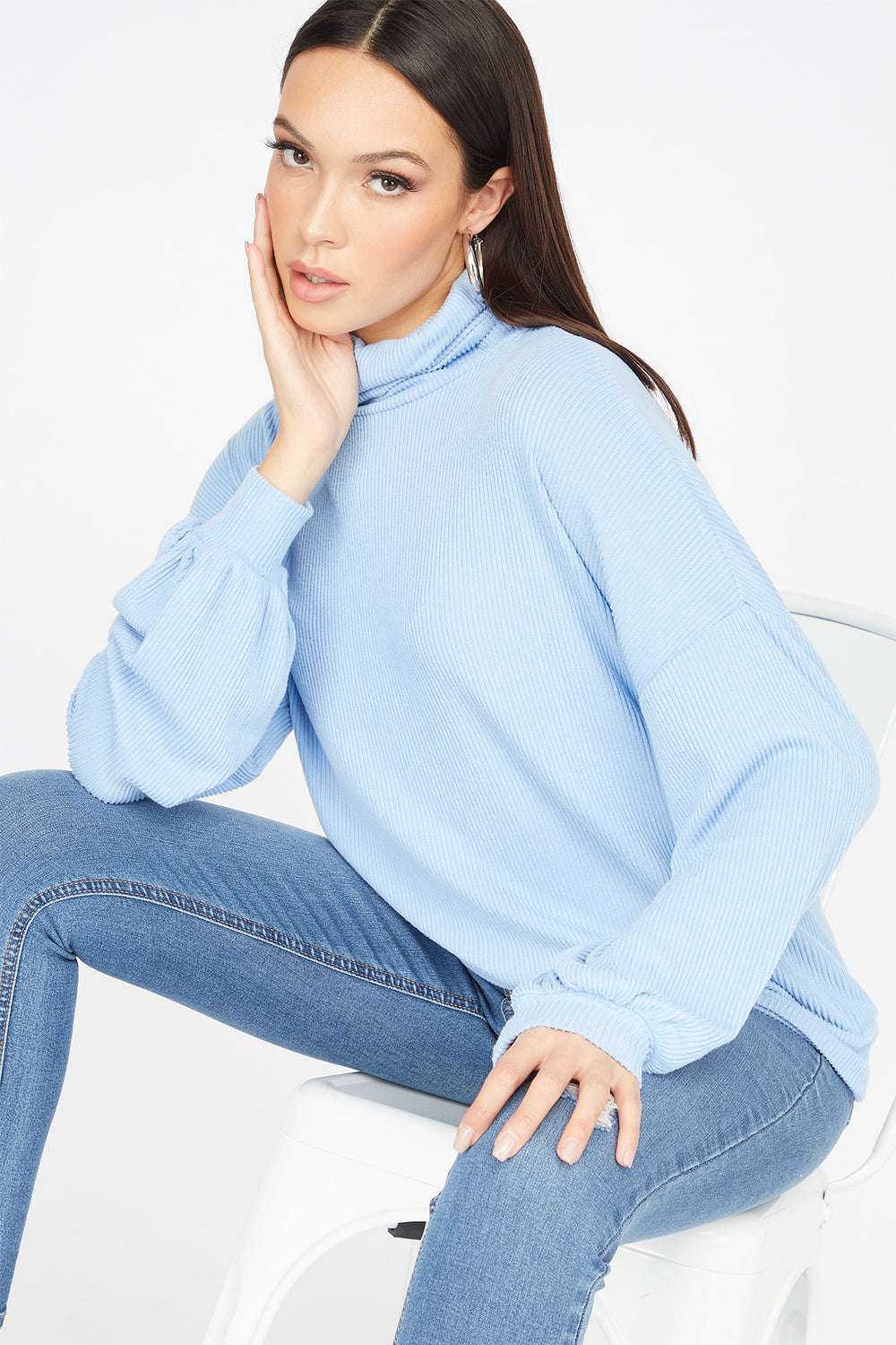 Knit Turtleneck Long Dolman Sleeve Top Light Blue