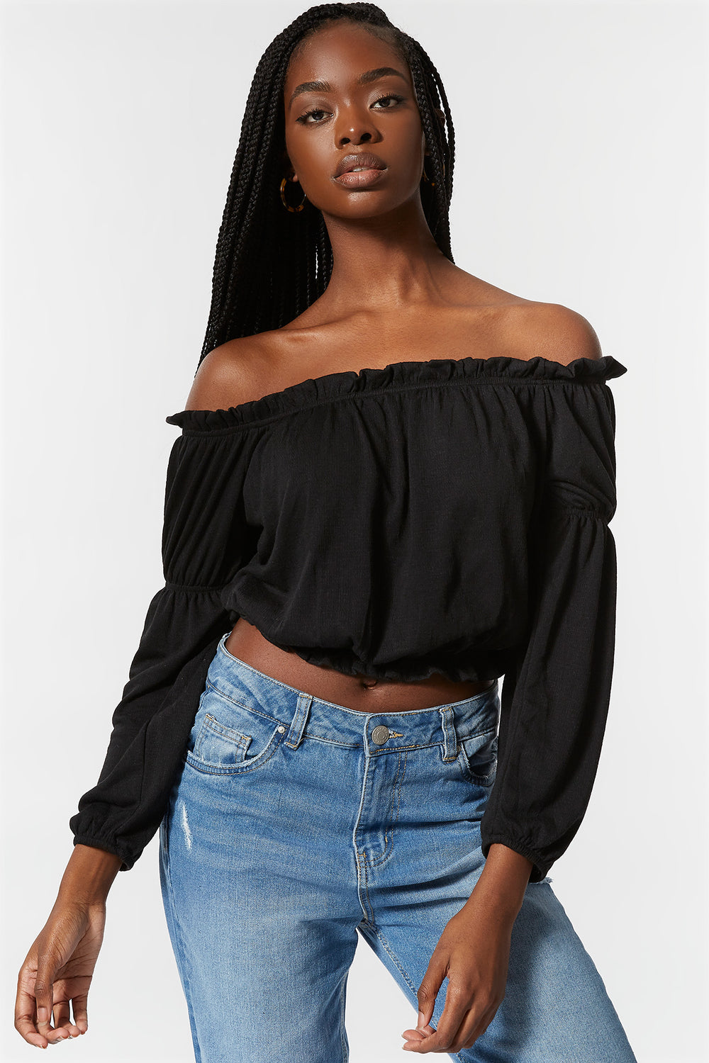 Off The Shoulder Lettuce Hem Top Black