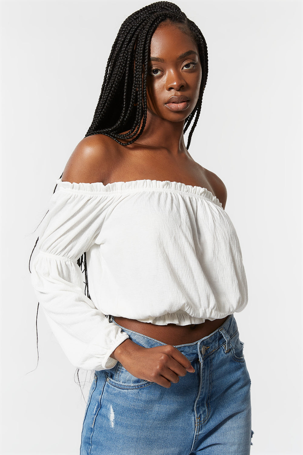 Off The Shoulder Lettuce Hem Top White