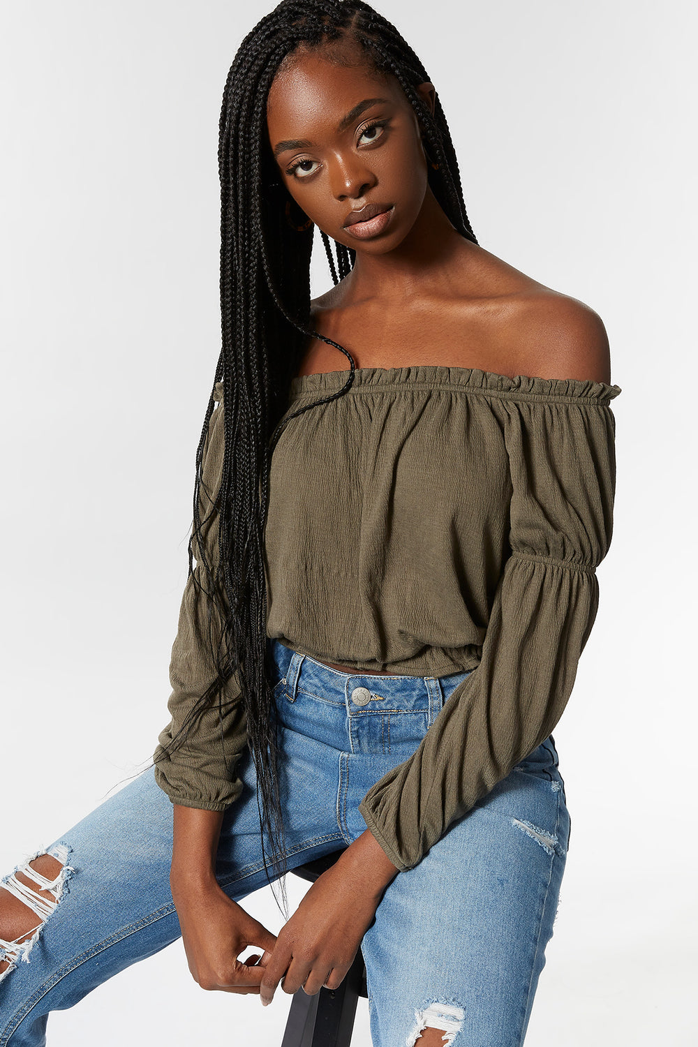 Off The Shoulder Lettuce Hem Top Dark Green