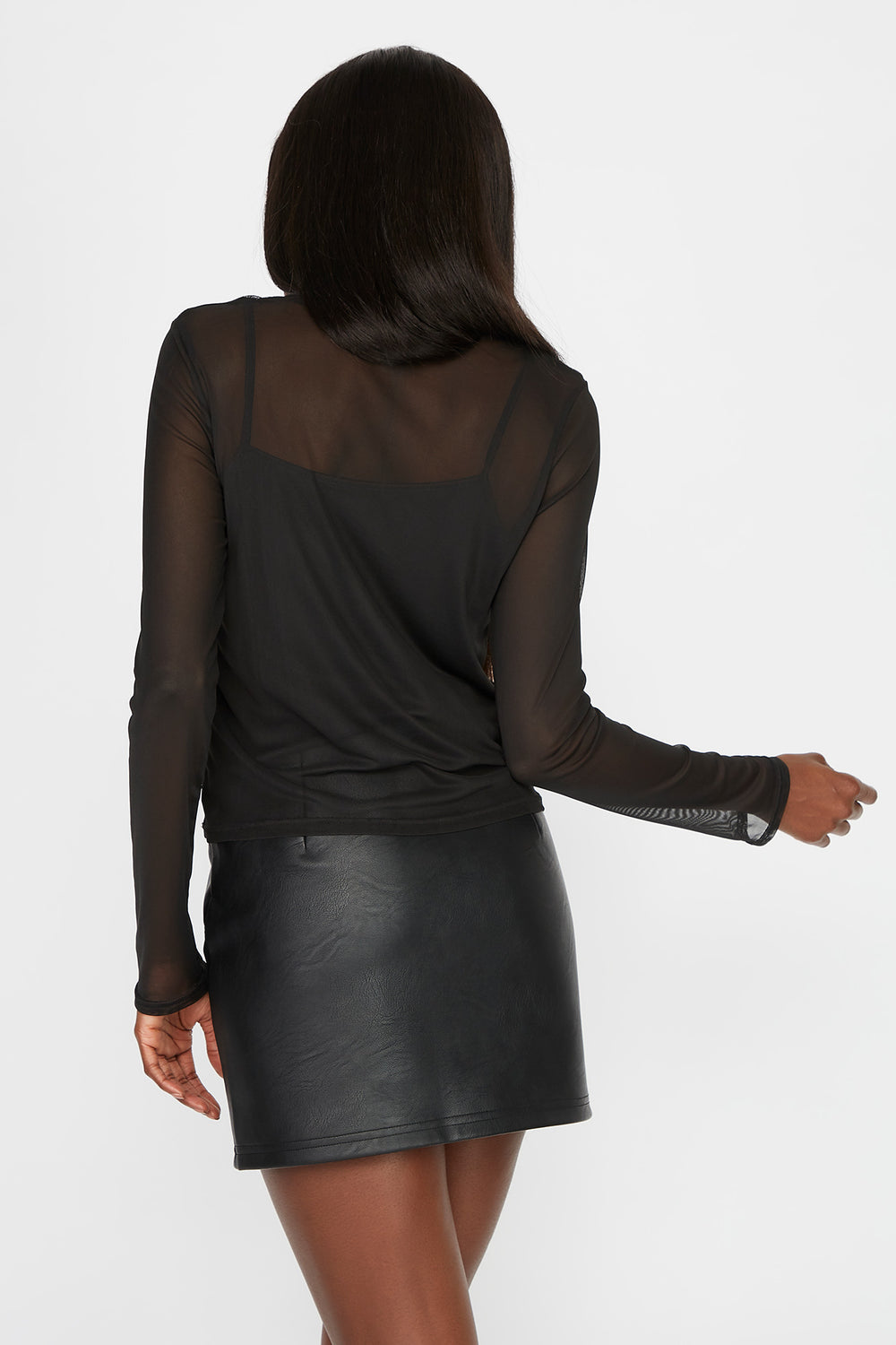 Mesh Long Sleeve with Camisole Black