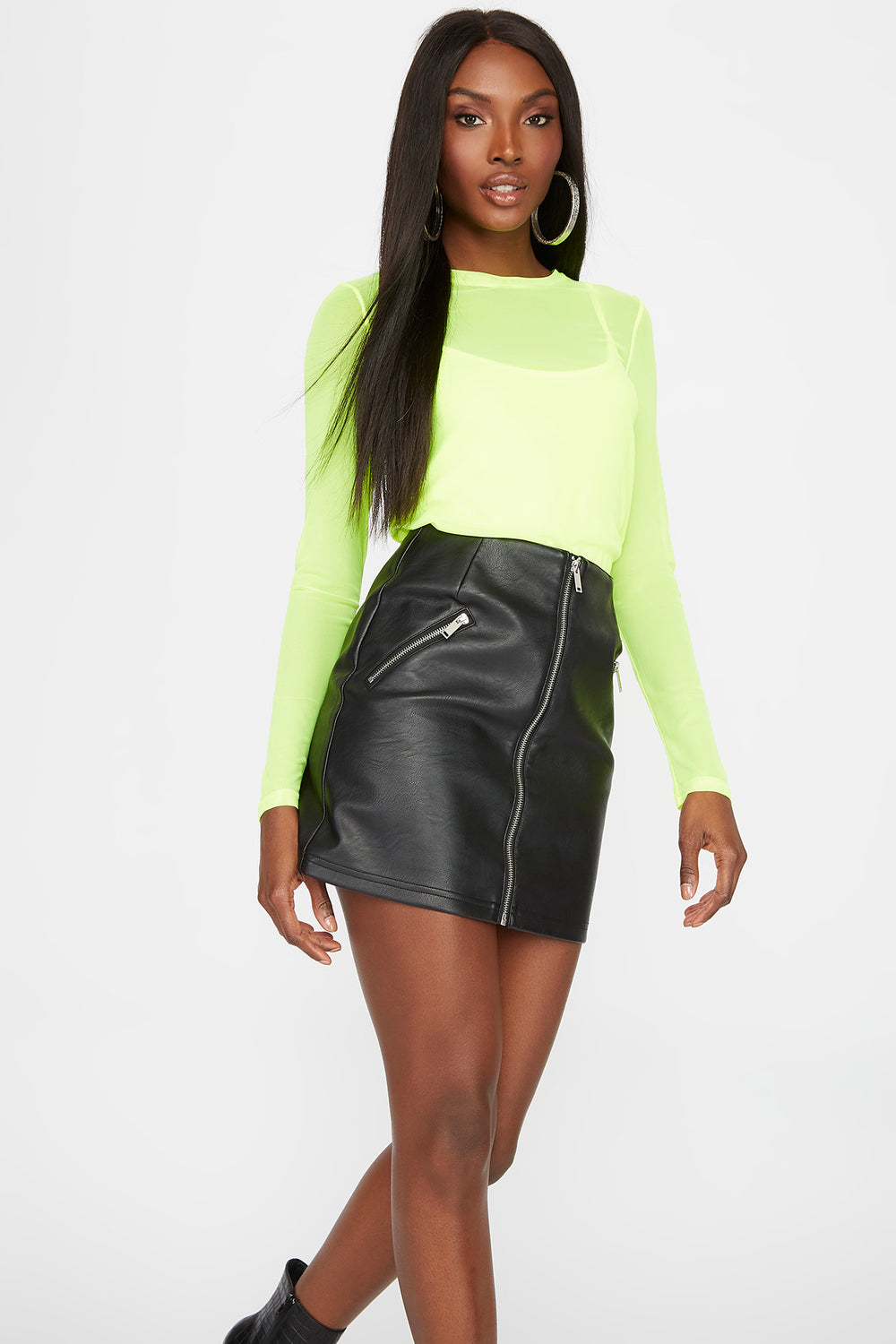Mesh Long Sleeve with Camisole Neon Yellow
