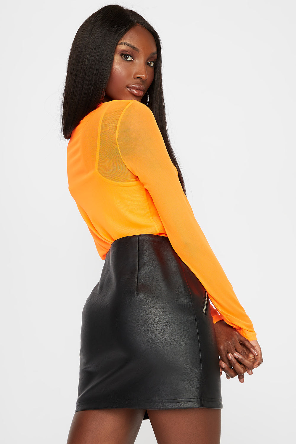 Mesh Long Sleeve with Camisole Neon Orange