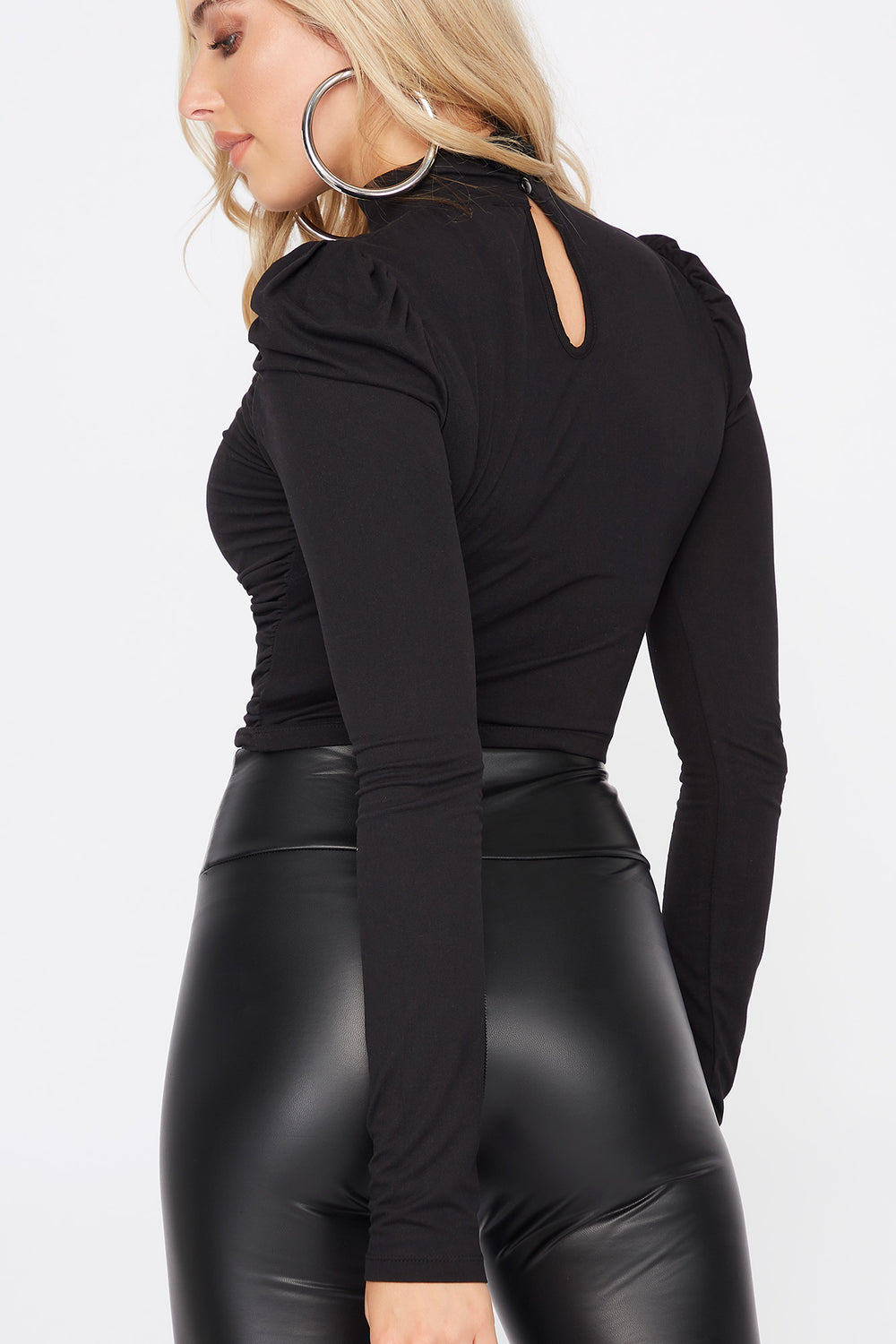 Soft Ruched Mock Neck Long Sleeve Cropped Top Black