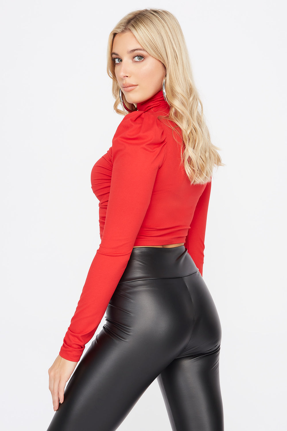Soft Ruched Mock Neck Long Sleeve Cropped Top Red