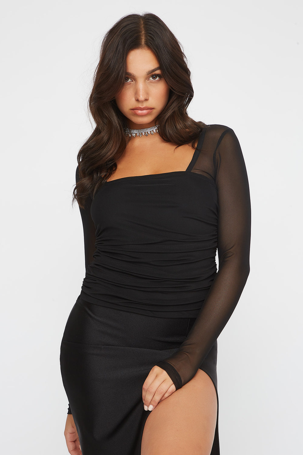 Ruched Mesh Square Neck Long Sleeve Black