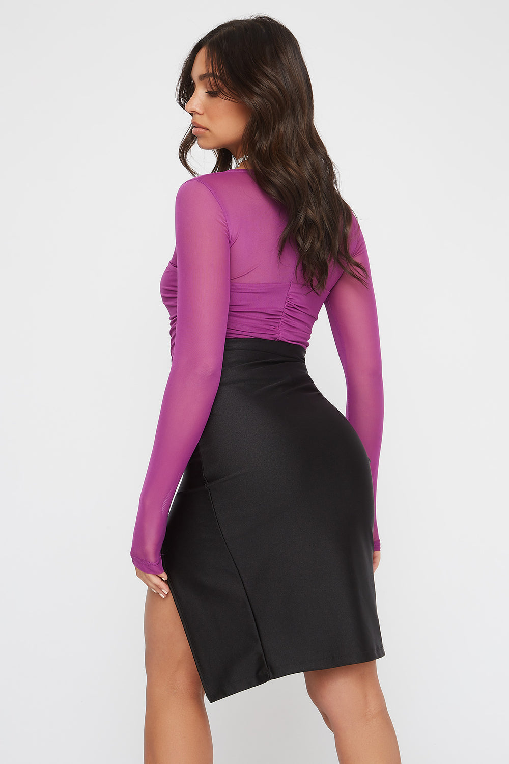 Ruched Mesh Square Neck Long Sleeve Purple