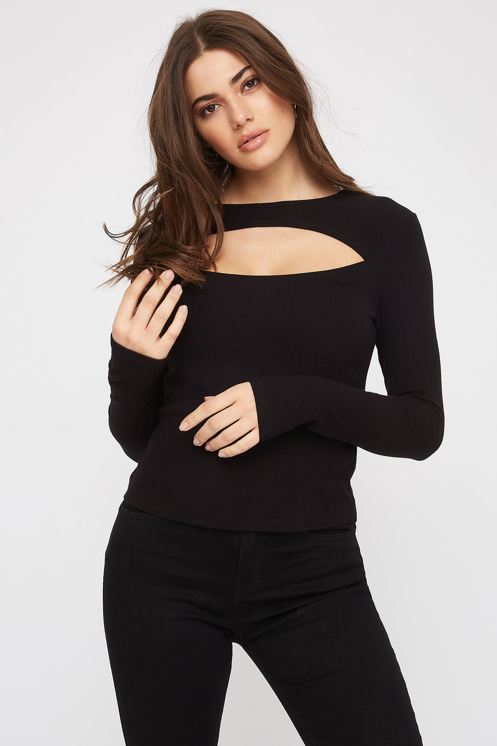 Ribbed Cut-Out Long Sleeve Black
