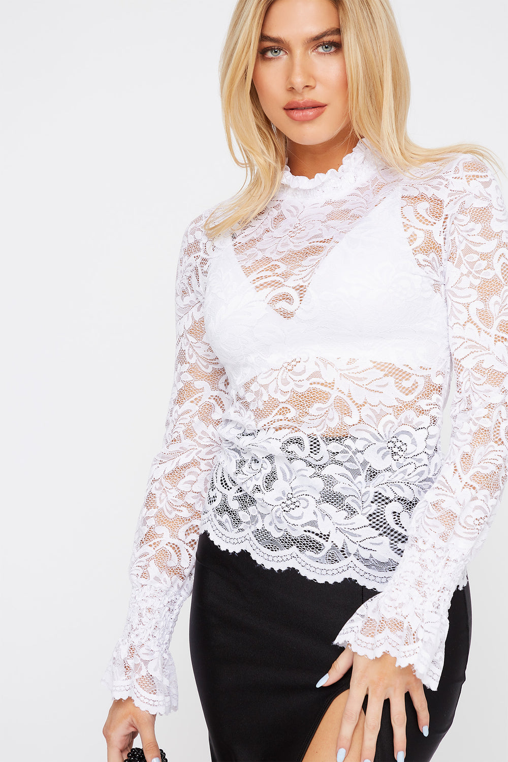 Lace Mock Neck Long Sleeve Blouse White
