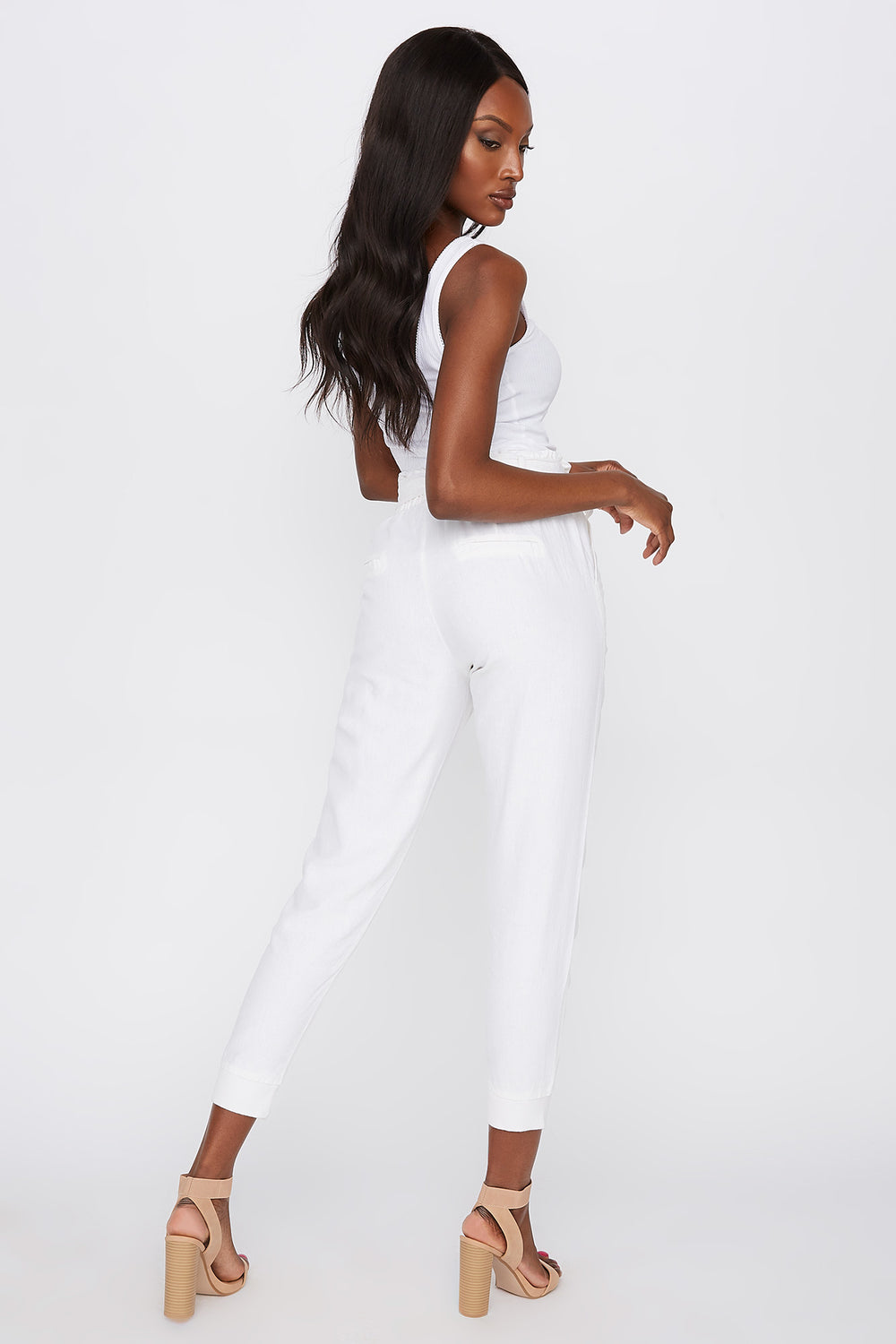 Linen Pull-On Self Tie Pant White