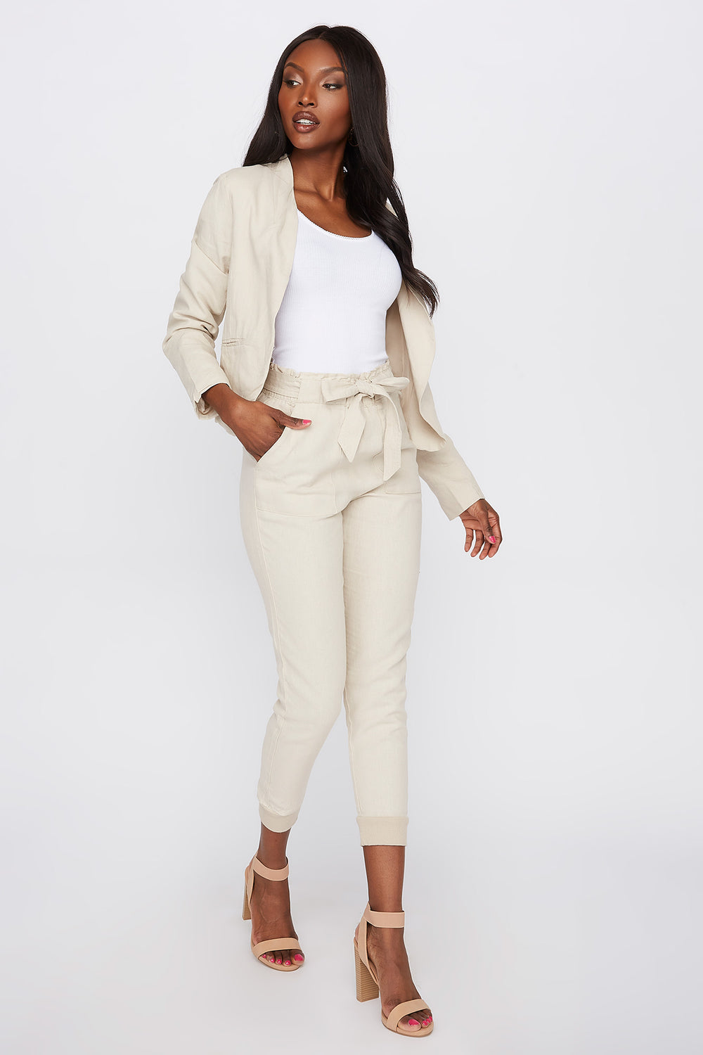 Linen Pull-On Self Tie Pant Natural