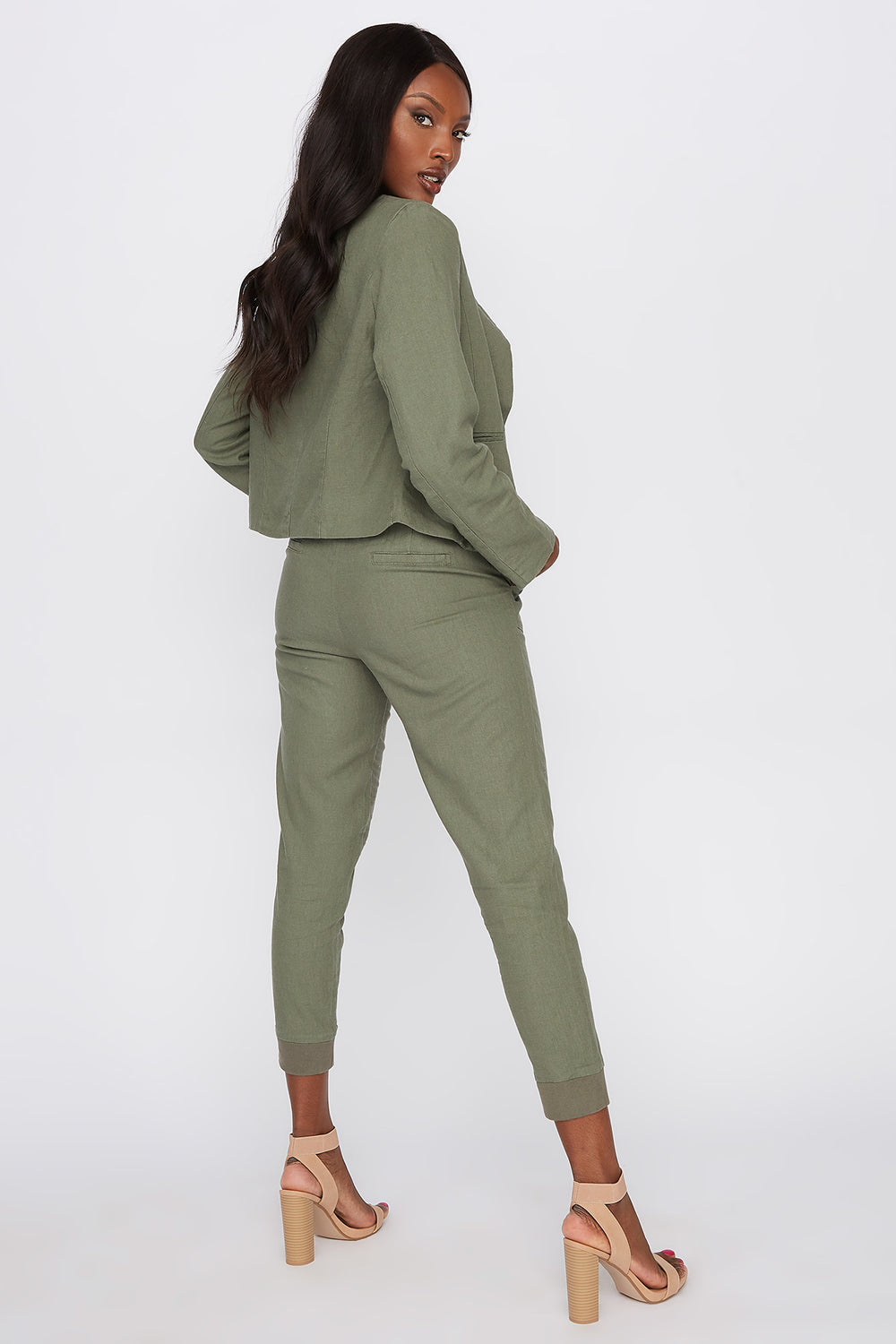 Linen Pull-On Self Tie Pant Dark Green