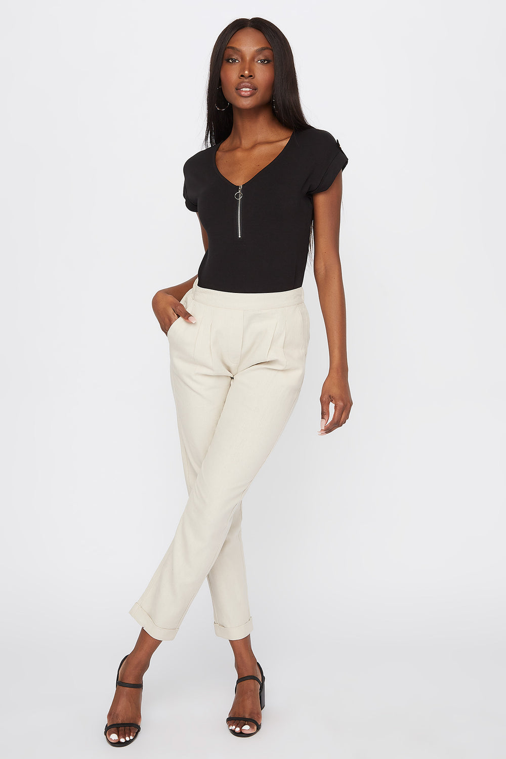 Linen High-Rise Cuffed Pant Natural