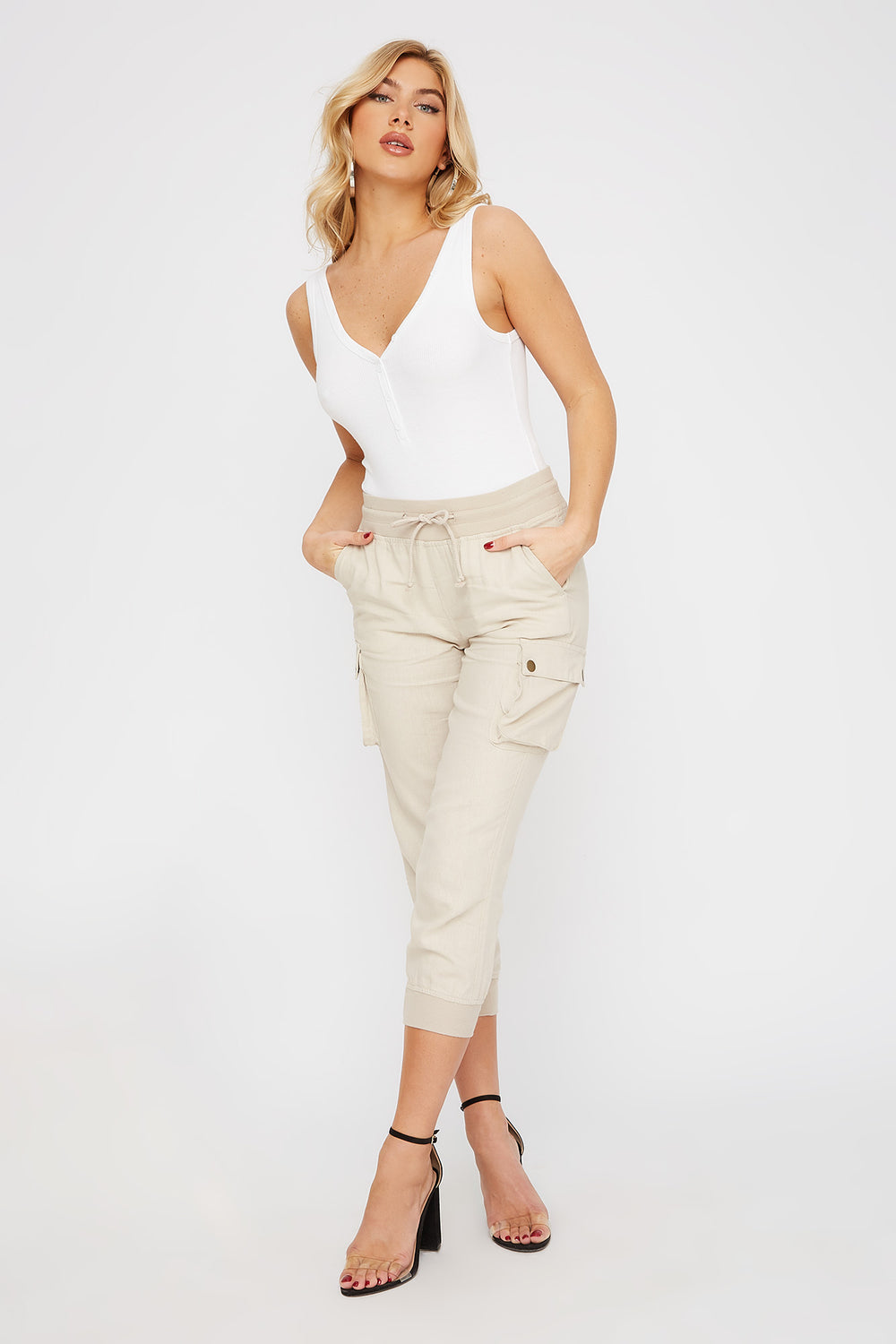 Linen Cropped Cargo Natural