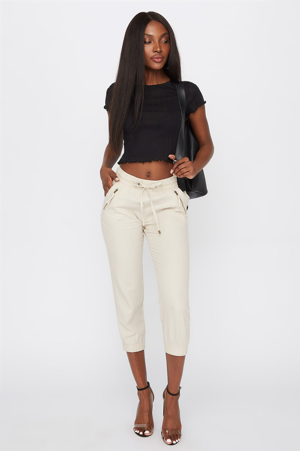 Linen Drawstring Zipper Detail Cropped Pant Natural