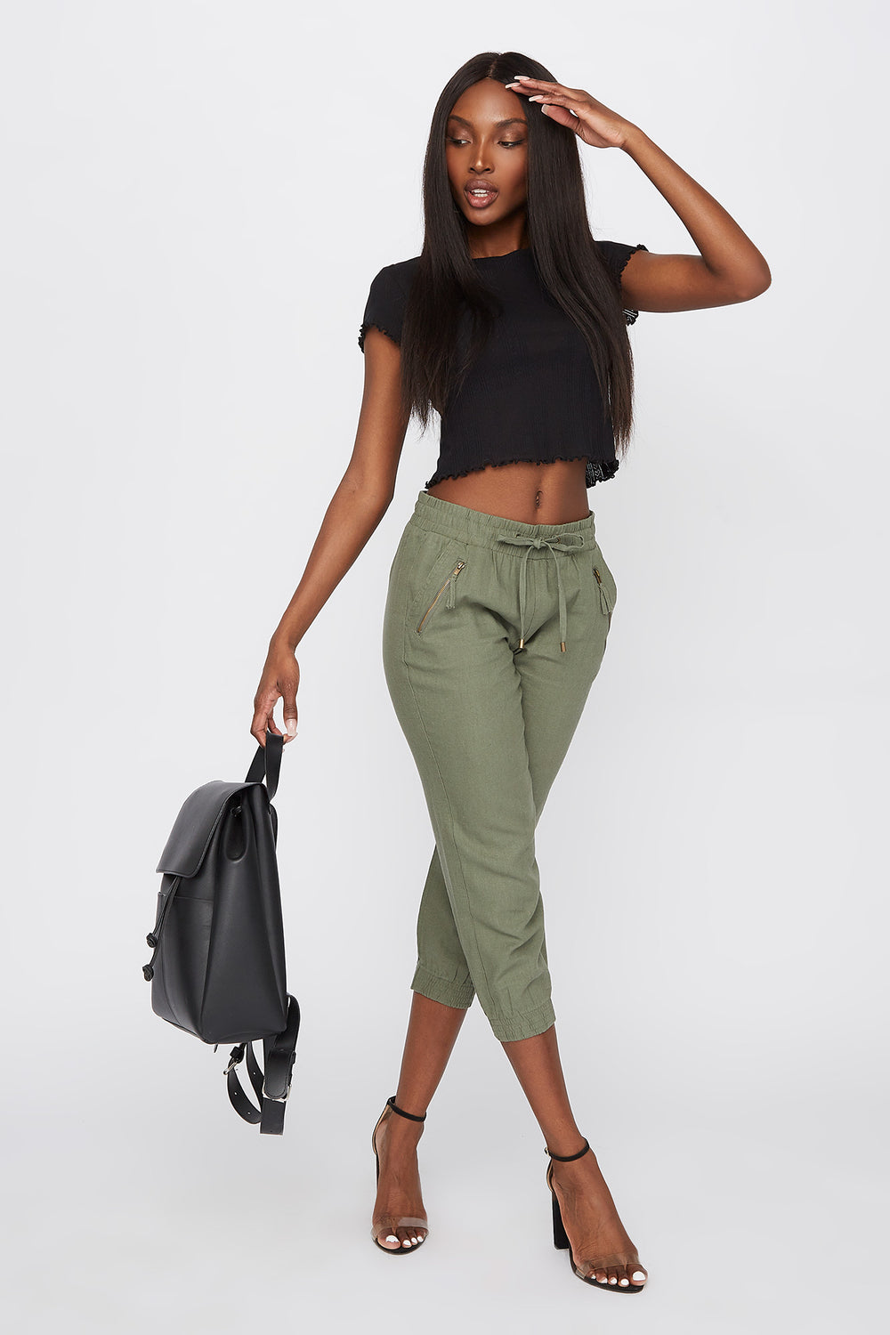 Linen Drawstring Zipper Detail Cropped Pant Dark Green