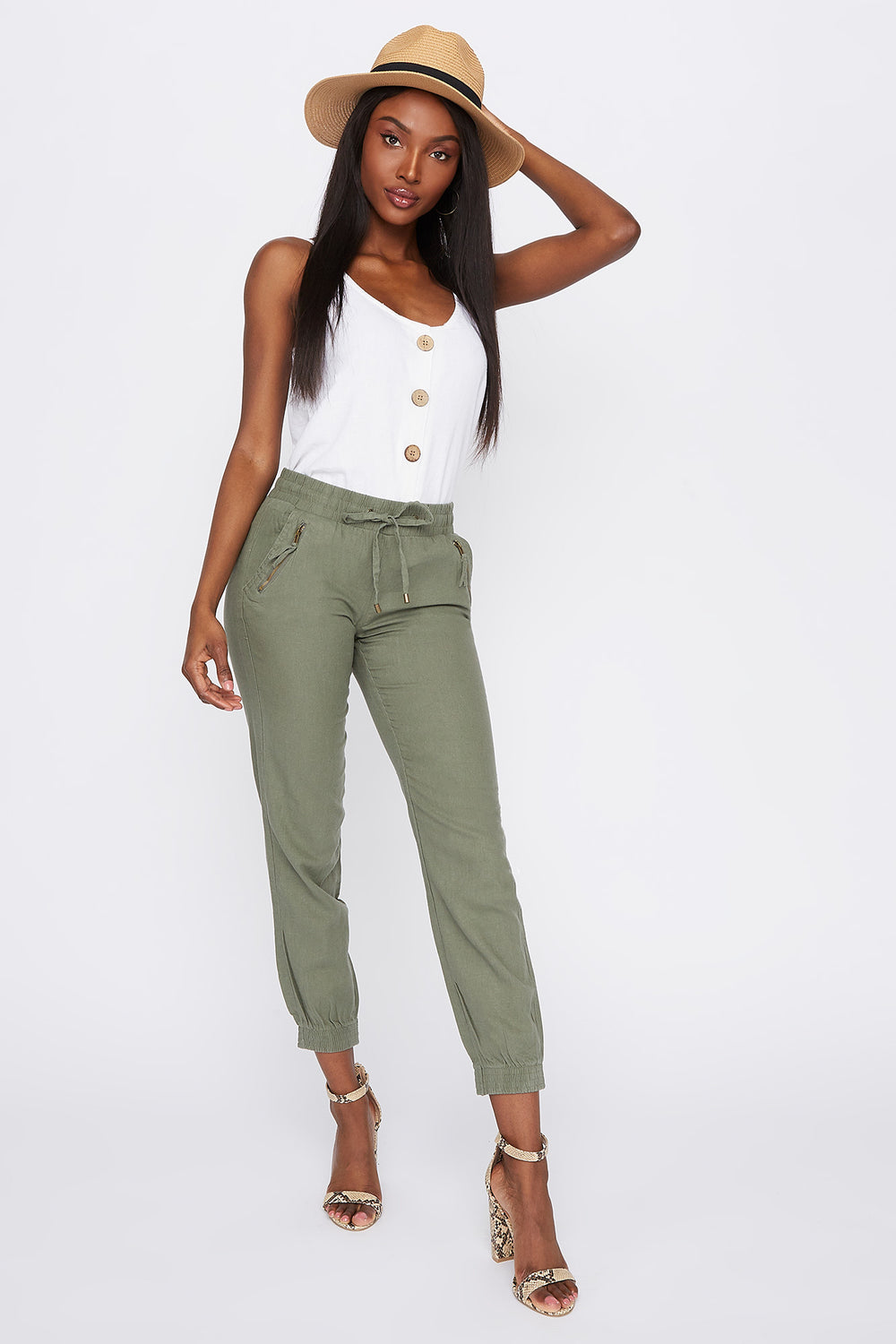 Linen Drawstring Jogger Dark Green
