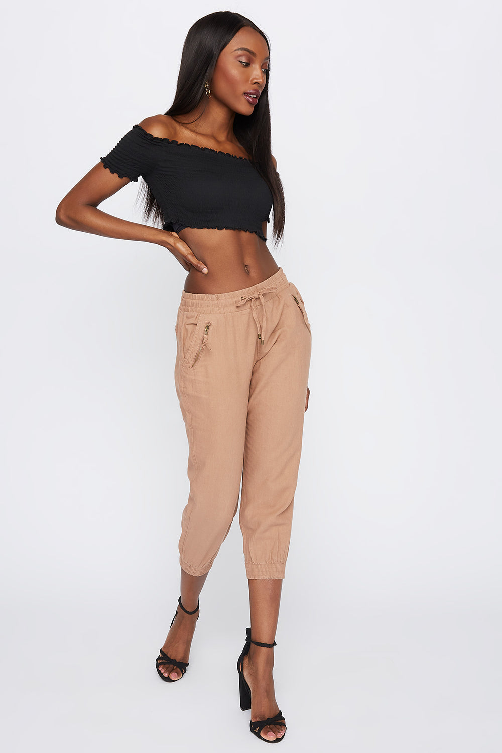 Drawstring Linen Jogger Medium Brown