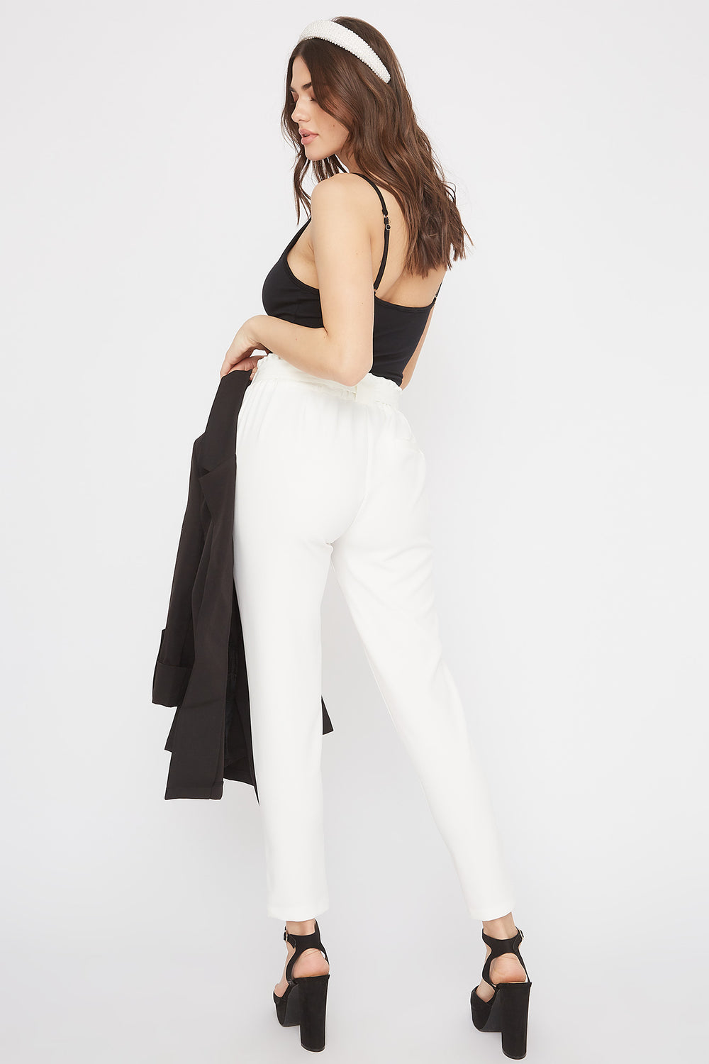 High-Rise Self-Tie Skinny Pant White