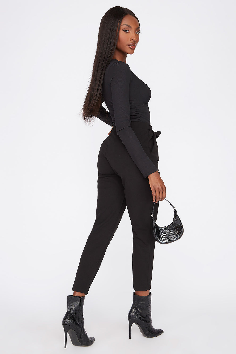 Cropped Belted Crepe Pant Black