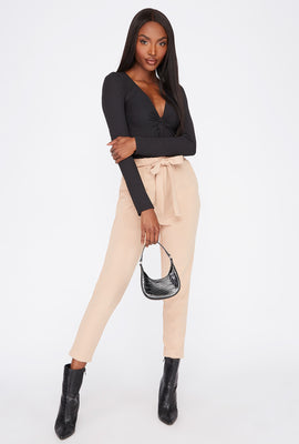 Cropped Belted Crepe Pant