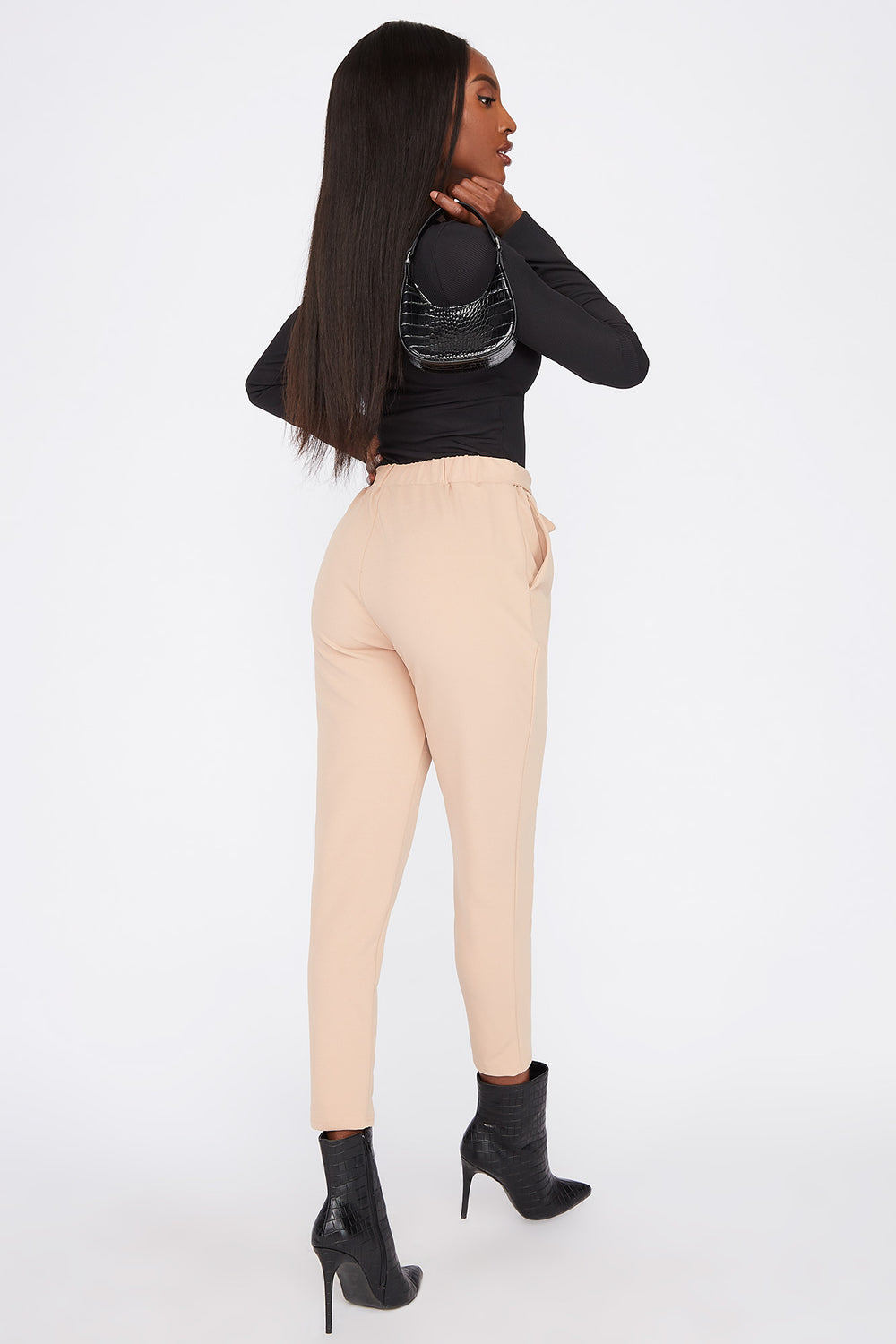 Cropped Belted Crepe Pant Taupe