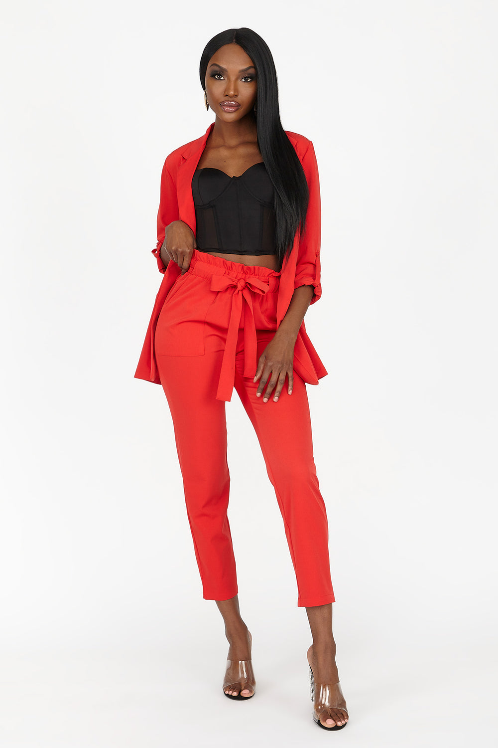 Open Front Roll-Tab Blazer Red
