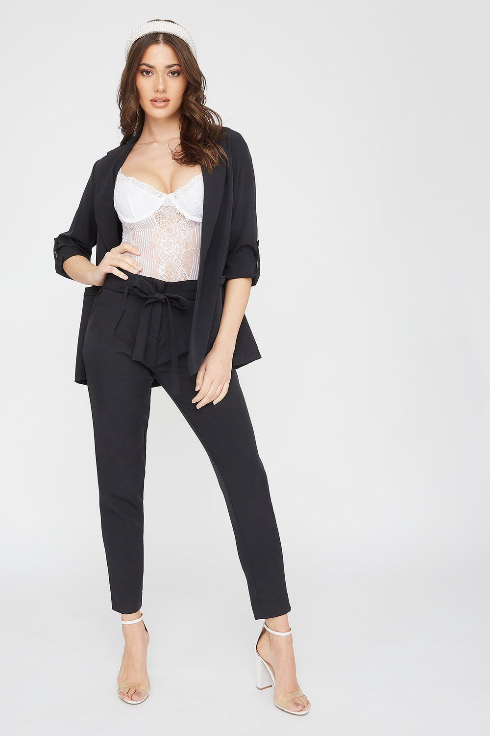 Solid Paperbag Pant Black