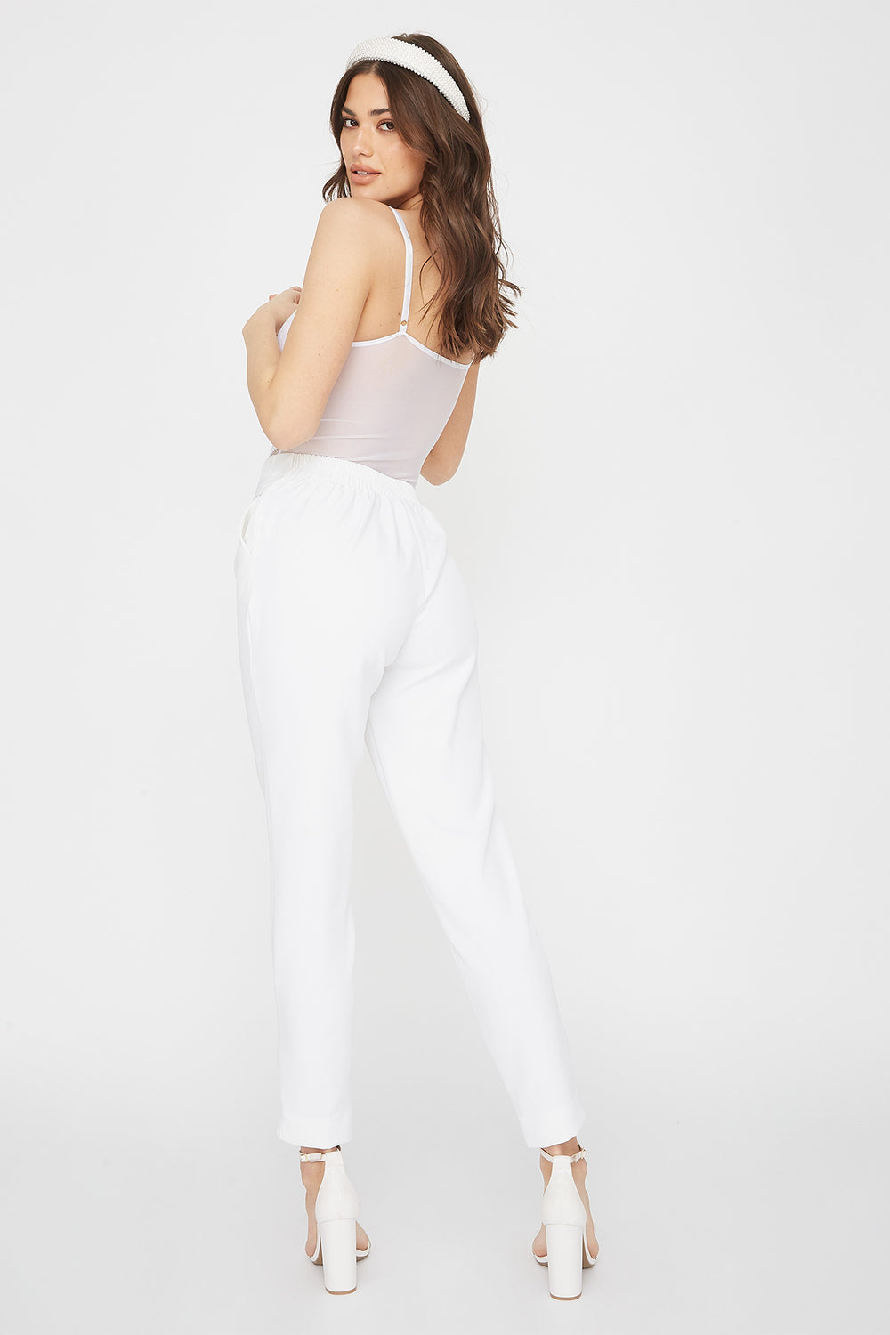Solid Paperbag Pant White