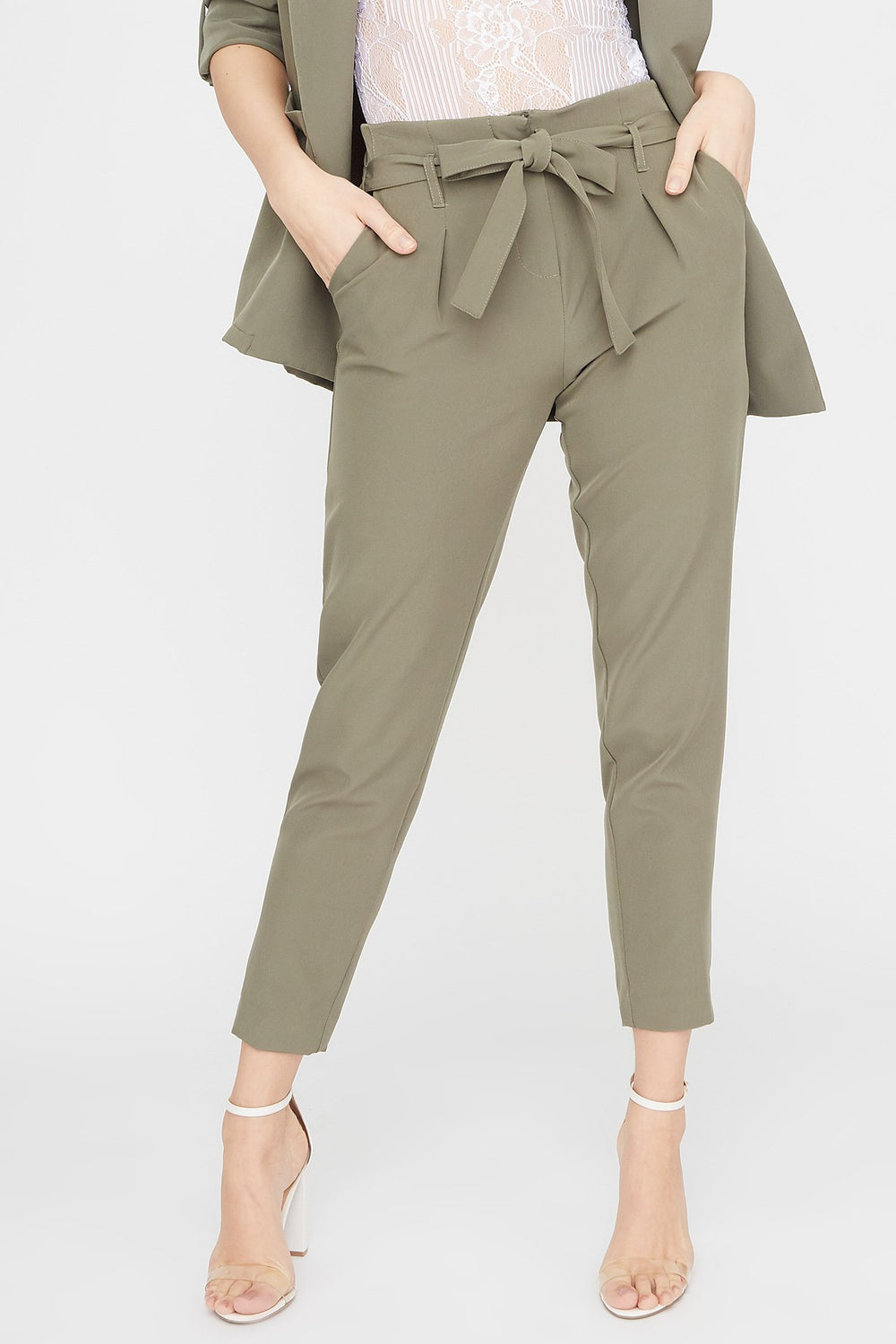 Solid Paperbag Pant Dark Green