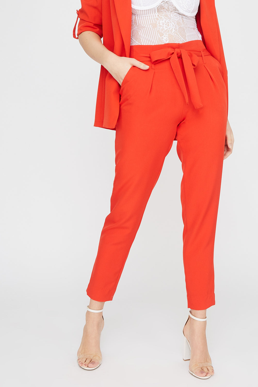 Solid Paperbag Pant Red