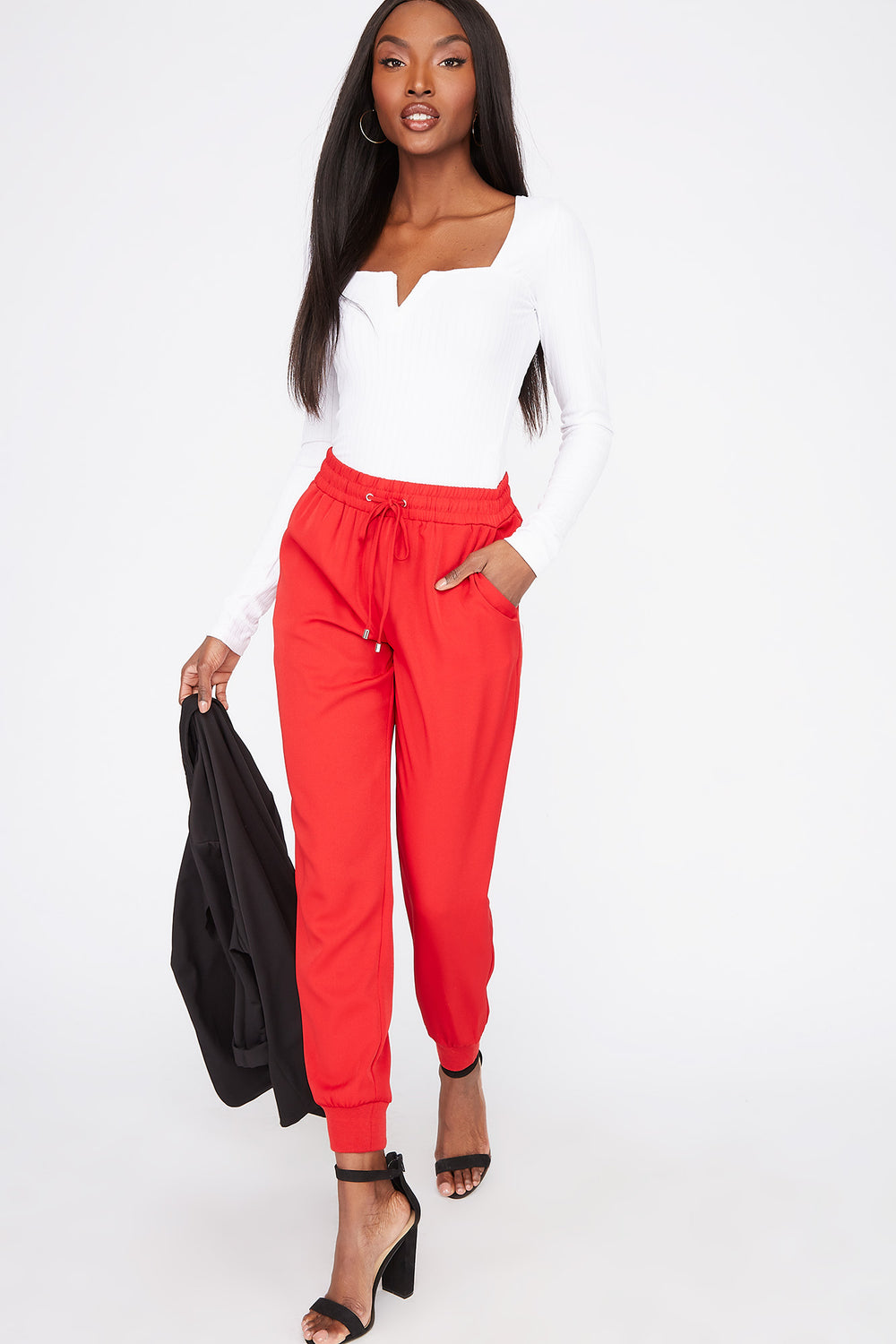 Drawstring Cuffed Jogger Red