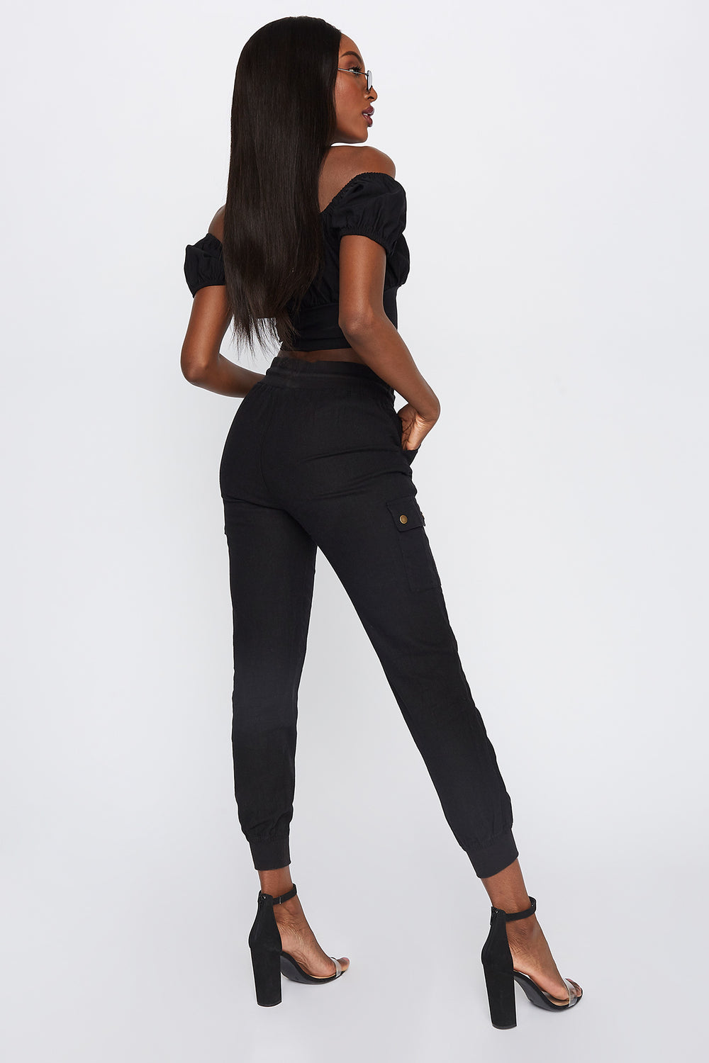 High-Rise Linen Drawstring Jogger Black