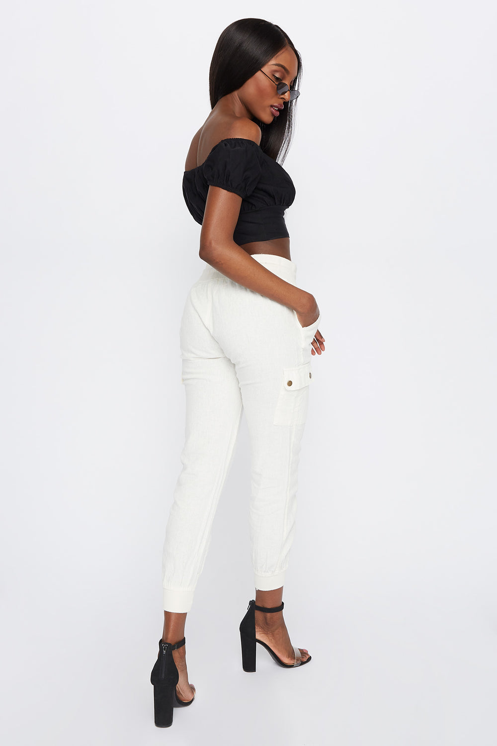 High-Rise Linen Drawstring Jogger White