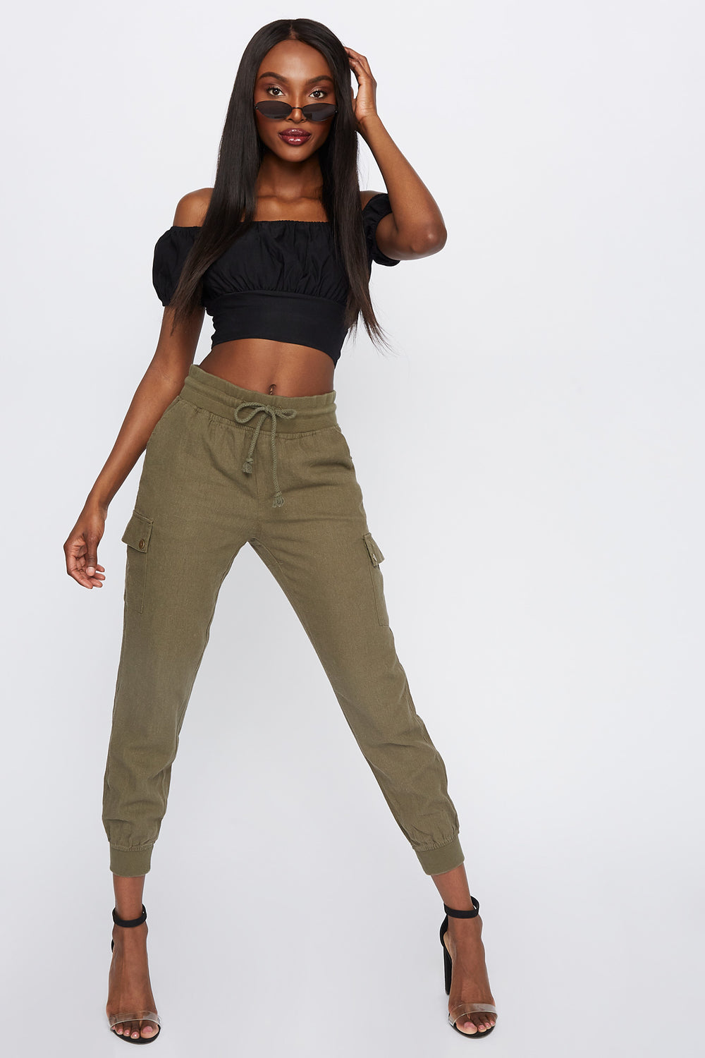 High-Rise Linen Drawstring Jogger Dark Green