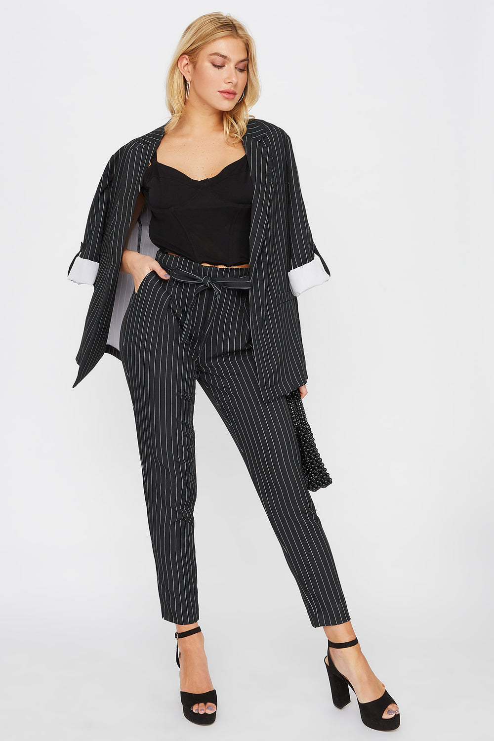 High-Rise Pinstripe Self-Tie Dress Pant Black