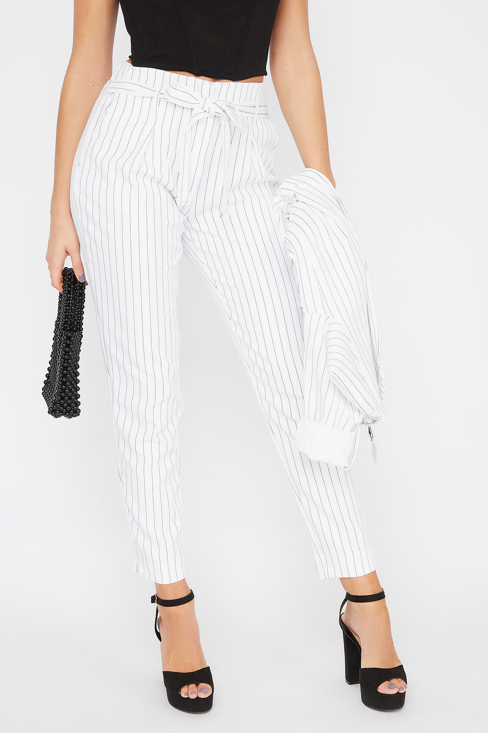High-Rise Pinstripe Self-Tie Dress Pant White