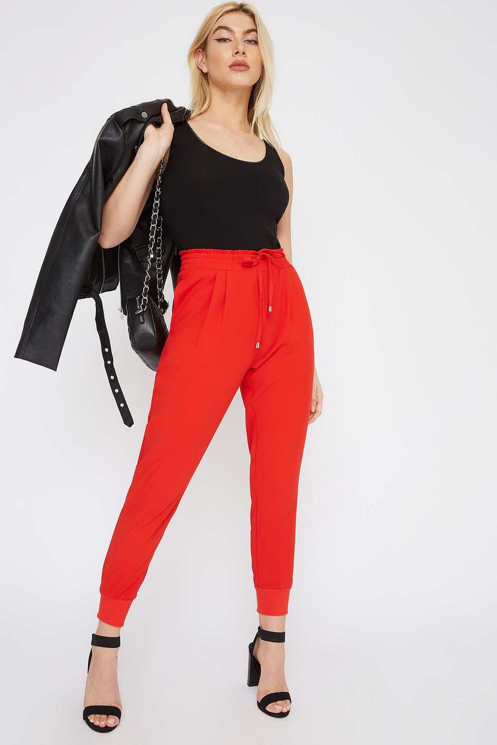 Ribbed Ankle Drawstring Jogger Red