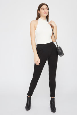 Cropped Crepe Pull-On Ankle Pant