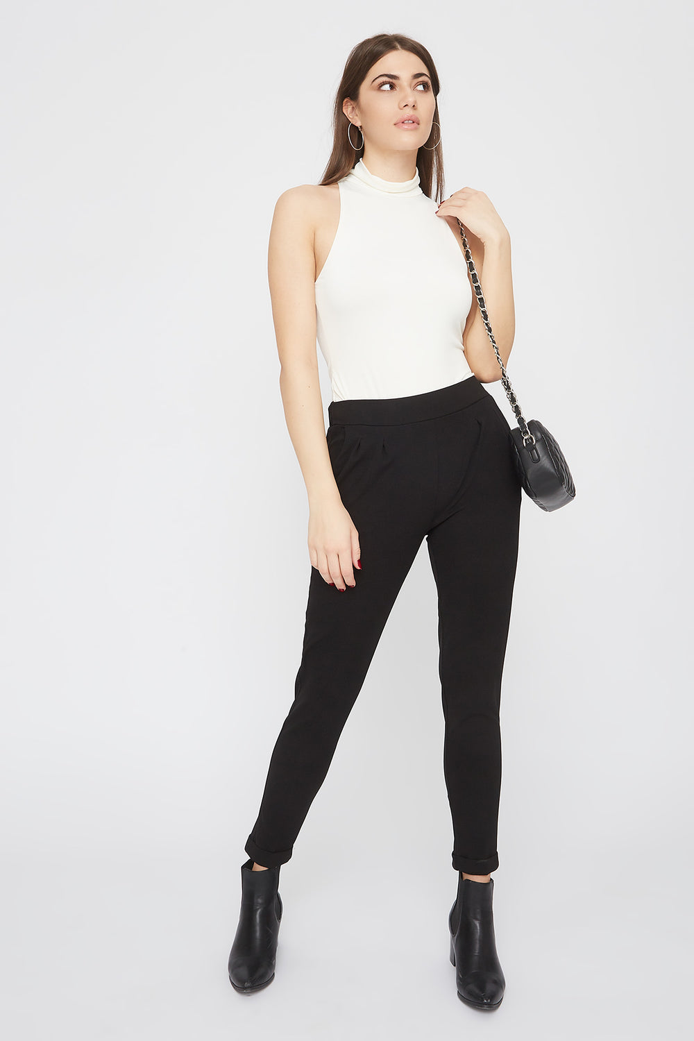 Cropped Crepe Pull-On Ankle Pant Black