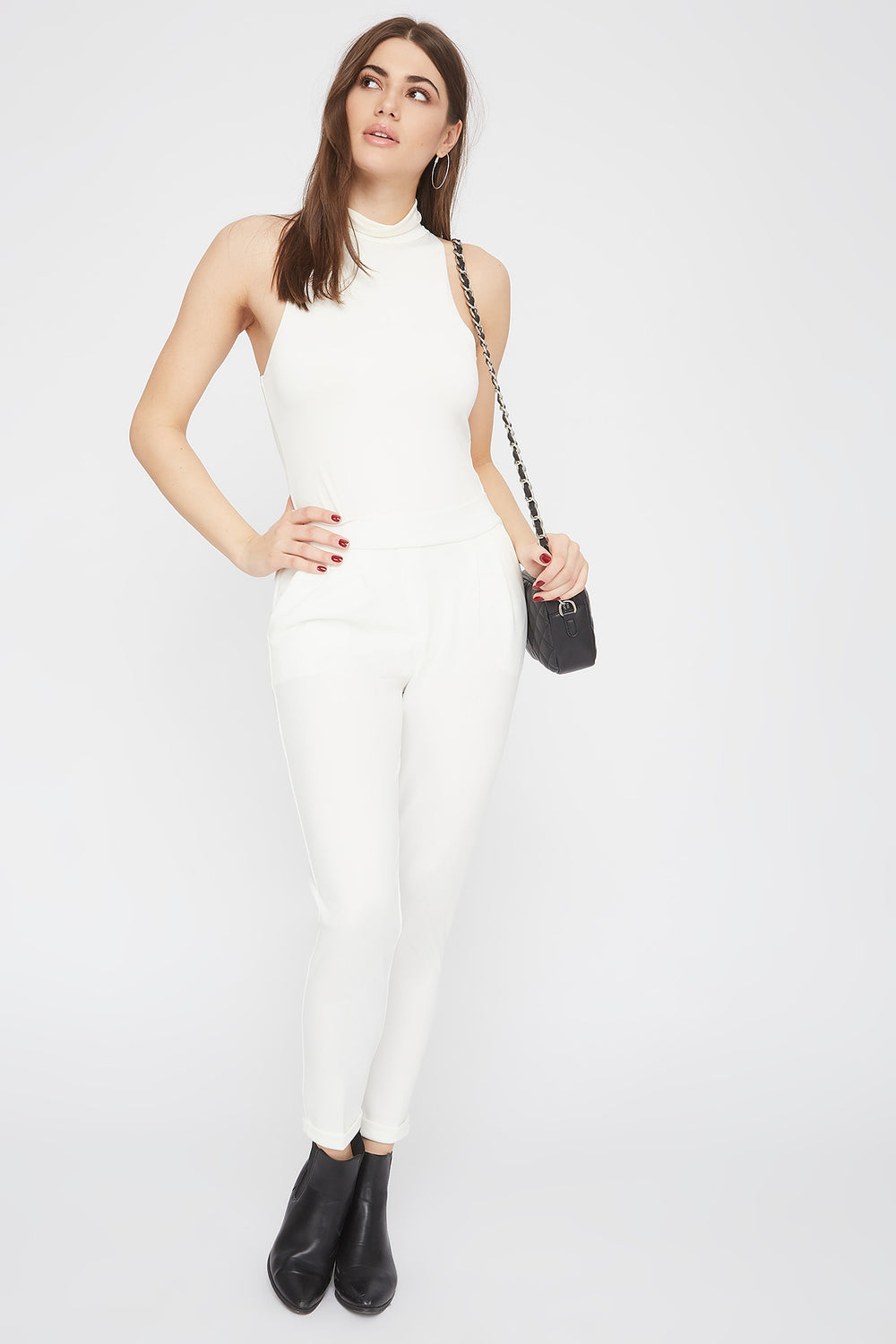 Cropped Crepe Pull-On Ankle Pant White