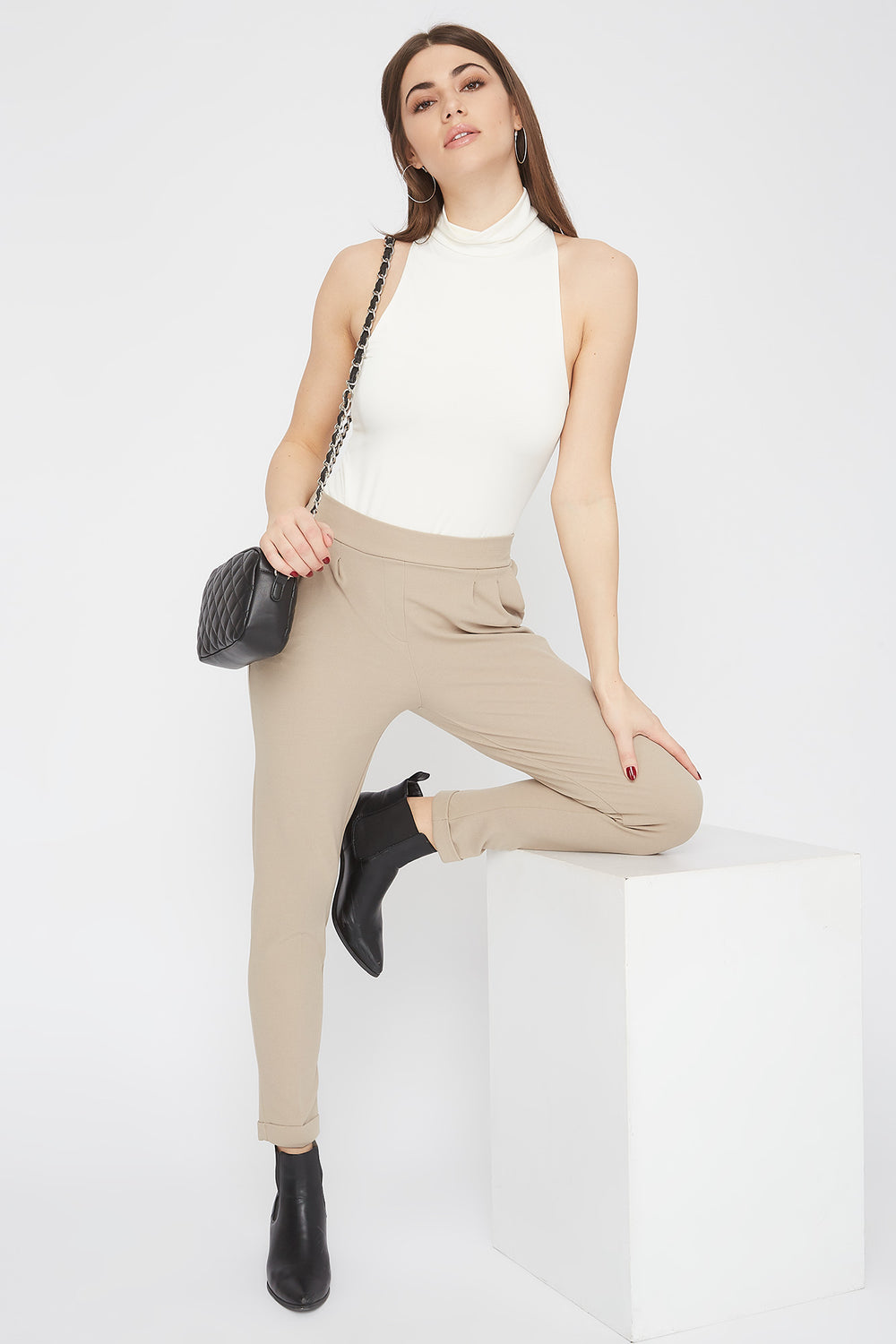 Cropped Crepe Pull-On Ankle Pant Tan