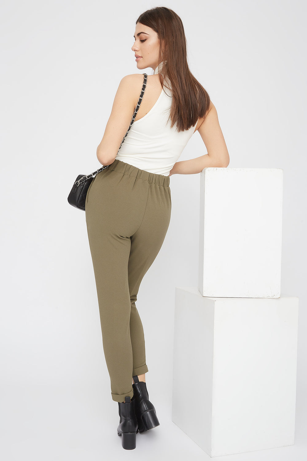 Cropped Crepe Pull-On Ankle Pant Dark Green