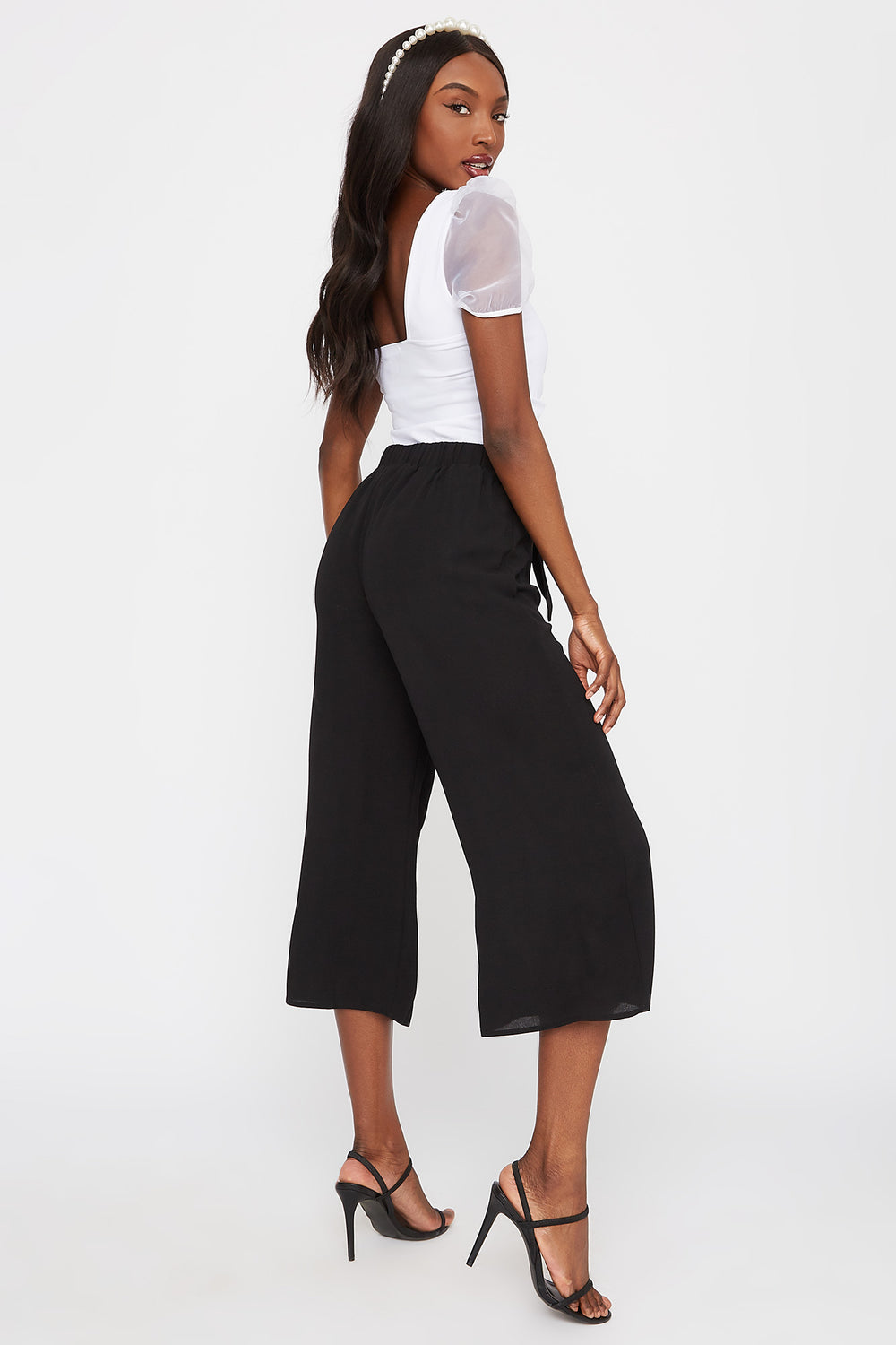 Pull-On Self Tie Culotte Black